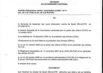 Autorisation cantonal I
